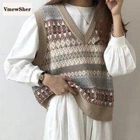 Vmewsher v шеи вязаный свитер жилет осень зима корейский стиль без рукавов короткие свободные женские пуловеры женские жилеты