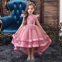 Girls Trailing Party Dress Baby Girl Birthday Costume Princess Dress Embroidery Flower Baby Kids Formal Clothes Wedding Evening Prom Dresses