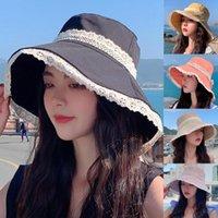 Wide Brim Hats Lace Folded Seaside Beach Hat Fashion Summer Women Fishermen Outdoor Sunshade Basin Solid Color Fisherman