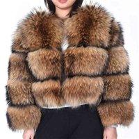 Maomaokong winter women's real fur coat Natural Raccoon fur jacket high quality fur round neck warm woman jacket 210925