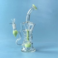 Fab Egg Water Pipes Double Recycler Oil Dab Rigs Hookahs 14mm Female Joint With Bowl Glass Bongs Turbine Perc Bong Pure Color Hookah