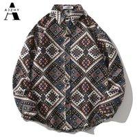 Мужские повседневные рубашки Ajzhy Harajuku Толстый плед с длинным рукавом Негабаритный национальный стиль осенью зимняя уличная одежда из хлопка вязаные вершины
