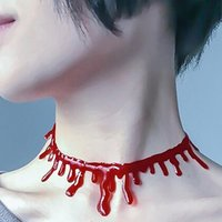 Chains 1PC Halloween Blood Necklace Women Chokers Necklaces Party DIY Decorations Horror Props Kids Toy Gift Haunted House