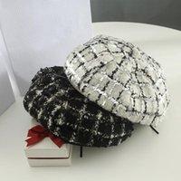حافة واسعة القبعات 2021 أنيقة النساء الترتر منقوشة القبعات للإناث أزياء الشتاء مثمنة القابل للتعديل الخريف ماركة المرأة قبعة الرسام