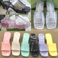 """2021 Sandalias para mujer Tacones altos Tallas de goma Plataforma de sandalia Slipper Chunky 2.4 """"Zapatos de altura de tacón de verano Chanclas en relieve de verano con caja 267"""