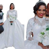2022 Amazing Saudi Arabia Wedding Dress High Neck With Illusion Long Sleeve Lace Applique Empire Wasit Bridal Dresses Vestidos De Novia