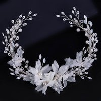 White Flower Pearls Headbands For Bride Wedding Hair Accessories Super Fairy Tiaras And Crowns Women Girls Headdress Headpieces Clips & Barr