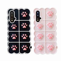 Relieve Stress Pop Fidget Toys Push Case for Huawei P40 P30 Pro Mate 40 Honor 20s 8X 9X Pro Nova 6 7 8 SE 4 5i Cat Dog Paw Cover
