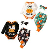 kids Clothing Sets girls boys Halloween outfits infant letter Tops+pumpkin ghost print pants+Bow 3pcs set Spring Autumn fashion baby clothes
