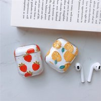 Earphone Accessories Silicone Cover Cases for Airpods 1s 2nd Fruit Orange Strawberry Design Girls Women Shockproof Protective PC Covers 97200
