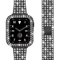 Edelstahl Metall Armbandarmband für IWATCH SERIE 6/5/4/3/2 / 1 / SE Bling Black Silver Gold Damen Designer Apfel Uhrenband 38mm 40mm 42mm 44mm + Diamant Strass Fall