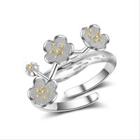 Wedding Rings RONERAI Fashion 925 Sterling Silver For Women Sweet Romantic Cherry Blossom Adjustable Ring Jewelry Valentine's Day Gifts
