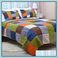 Quilts Sets Bettwäsche-Zubehörtextilien Home Gärtnereuropäischer Amerikaner Baumwolle gedruckte gesteppte quilte stickerei quilting ist dreiteilig von gewaschen von