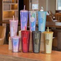 24 oz Bling Personalizado Rainbow Unicornio Tamaño de la taza de frío Taza de café con botellas de agua de paja HH21-169