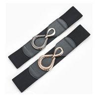 Belts Black Waistband Lady Elastic Waist Belt Fashion Wide Cummerbunds For Dress Coat Sweater Decoration Retro Alloy Buckle