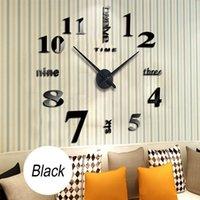 ساعة الحائط ساعة 3d مرآة أكريليك ملصقا عدد رسائل الحديثة الصامت diy كبير التناظرية الذاتي اللصق ديكور المنزل