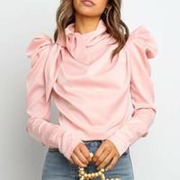 Womens Satin Tops Stand Collar Colletto a sospensione a maniche lunghe Shirt Shirt Shirt Shirt Blusa Pieghettata Piegata Spring Color Colore Arco 2021 Camicette da donna Camicie