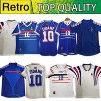 1998 Retro 2002 Zidane Henry Maillot de Foot France Soccer Jerseys 1996 2004 Camicia da calcio Trezeguet Away Finals 2006 Bianco 2000
