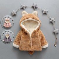 Down Coat Style Baby Toddler Infant Girls Clothes Cute Fleece Fur 2021 Winter Warm Outerwear Cloak Jacket Kids