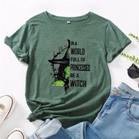 JCGO Fashion Summer T-shirt Femmes Plus Taille 5XL Coton Halloween Sorcière Print Femme À Manches courtes T-shirts Casual Dame Tops Tee 210318