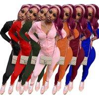 hoody tracksuits 여성 sweatsuits 후드 + 레깅스 긴 소매 운동복 7 색 두 조각 의상 가을 가을 의류 조깅 정장 솔리드 컬러 스포츠웨어 4449