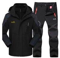Outdoor Jackets&Hoodies Winter Ski Suit Men's Jacket & Hiking Pants Thermal Raincoat Fleece Liner Parka Windproof Waterproof Mountaineering