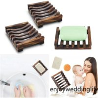 DHL Ship Natural Wooden Bamboo Soap Dish Tray Holder Storage Soap Rack Plate Box Container for Bath Shower Plate Bathroom FY4366 CS30