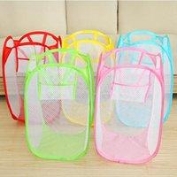 Laundry Basket Folding Mesh Clothes Storage Baskets Elastic Mesh Storage Bag Household Sundry Storage Bags T2I52210