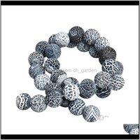 Achat Natürliche Witterung Schwarzer Onyx Stein 81012mm Runde Lose Spacer Perlen für Halskette Armband Schmuckherstellung 40cmstrand F3160 JPVTW QHWKB
