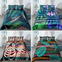 Tropische Blatt Bettwäsche Set grüne Pflanzen Duvet Quilt Cover Kissenbezüge Single Queen King Twin Size Drop Sets