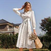 Simplee длинные слойные рукава цветок напечатанные женские платье с поясом элегантные высокие талия весенние Vestidos женские цветочные платья макси 210319