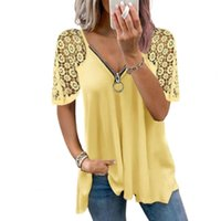 Women's T-Shirt Summer Female Women Casual Polyester Hollow Out Short Sleeve Lace Stitching Loose 2021