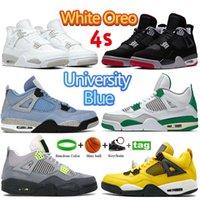 Mais novo Cor 4 4S Basquetebol Sapatos Branco Oreo Universidade Azul BRED Pure Dinheiro Cacto Jack Treinadores Excursão Amarelo Metálico Verde Verde Roxo Homens Mulheres Esportes Sapatilhas