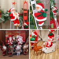 Christmas Toy Electric Climbing Ladder Santa Claus with Music Figurine Ornament DIY Crafts Xmas Party Festival Xams Tree Hanging Decoration Children Gifts