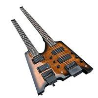 Factory Outlet-6 + 4 snaren Double-hals Headless Electric Bass-gitaar met palissander toets, twee kleuren beschikbaar