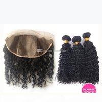 9a cheveux frisés profonds avec une base de soie 4x4 frontale de 4 pcs lot oreillette à l'oreille lacet pleine dentelle partie libre avec des paquets