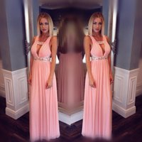 Pink Summer Chiffon Prom Dresses Plunging V Neck Pleated Crystal Beaded Evening Gowns Sexy Backless Prom Dress