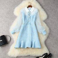 European and American women's clothing winter 2022 new Net long sleeve lantern sleeve Fashion spliced tweed fishtail dress