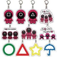 Designer keychain Brand key chain Squid Game Soldier Spopular Triangle Series Creative Acrylic Ring for Women Man Pocket Pendant Decoratio