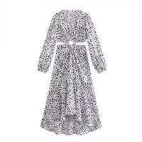 Повседневные платья xnwmnz вырезать платье женщина в горошек напечатана длинные для женщин элегантные вечеринки дамы вечернее платье винтаж midi
