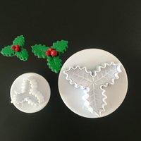 베이킹 생과자 도구 2pcs / 홀리 잎 크리스마스 케이크 아이스 퐁당 플런저 커터 DIY 금형 장식 금형 F2375