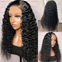 Synthetic Wigs 26Inch 180% Density Kinky Curly Loose Wave Jet Black Glueless Transparent 13x4 Lace Front For Women With Baby Hair