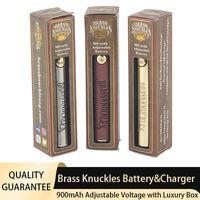 Brass Knuckles Vape Battery Charger Kit 900mAh 510 Thread Preheat Adjustable Voltage Cigarettes 3 Colors Pen Batteries