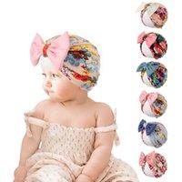 Baby Turban Cap Chapéu Índia Impresso Headband Bow Nó Headbands Macio Algodão Headwraps Stretchy Hair Bands Crianças Meninas Moda Cabelos Acessórios WMQ1247