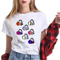 Vaporwave Lgbt Harajuku Kawaii Rainbow Women T Shirt Bees Printed Funny Pride Love Tee Femme White Summer Top