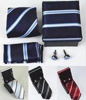تصاميم نمط مخطط نمط ربطة العنق الأسود الأزرق الصقار منديل صفقة الكفة البوليستر التعادل مقاطع مجموعات مع هدية مربع العلاقات الرجال عيد الميلاد L-520