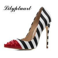 Lilyptuart cravejado alto salto alto 12cm stilettos mulheres apontou toe rebite senhoras festa bombas zebra raso colorido sapatos mulher 34-44 210329