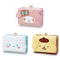 kawaii 귀여운 작은 지갑 짧은 숙녀 소녀 고양이 개 얼굴 빨간색 격자 무늬 핑크 지갑 Trifold 애니메이션 가죽 지갑 여성 머니 가방 클립