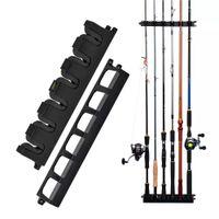 Pesca WV2 Vertical 6-varilla Rack Portaje Portaje Soporte de varilla Montaje de pared Modular para garaje