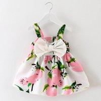 Девушка платья девочка Одежда лимона напечатанный лимон детский наряд без рукавов принцесса Gallus платье красивый рожденный детский костюм одежды